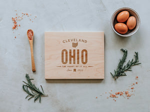 Custom City and State Modern Engraved Wooden Cutting Board
