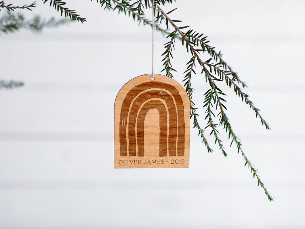 Personalized Wooden Rainbow Christmas Ornament