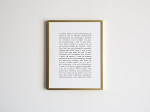 Custom Vows Print in Vintage Typewriter Style