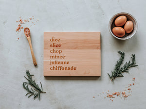 Dice, Slice, & Chop Engraved Wooden Cutting Board