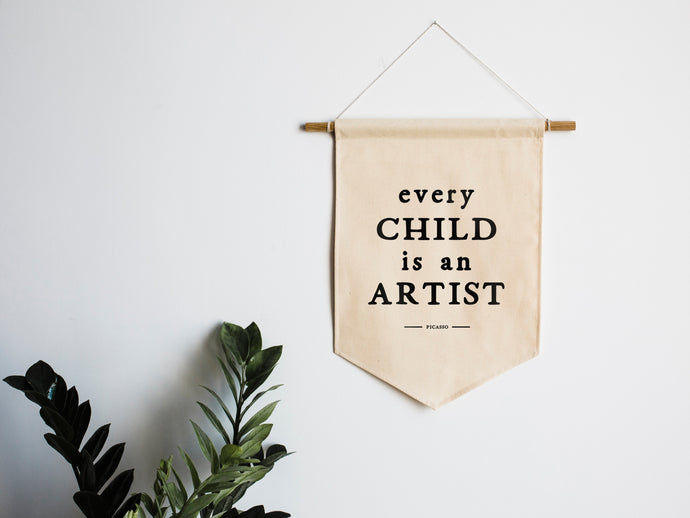 Every Child Is An Artist Picasso Canvas Banner