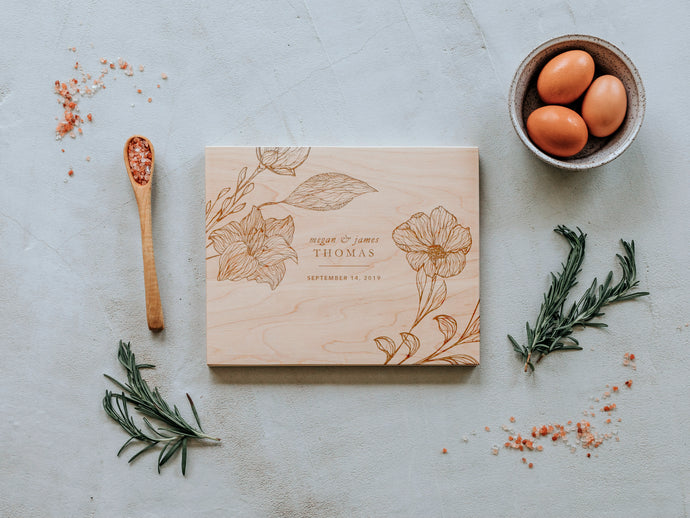 Floral Corners Custom Engraved Handmade Cutting Board