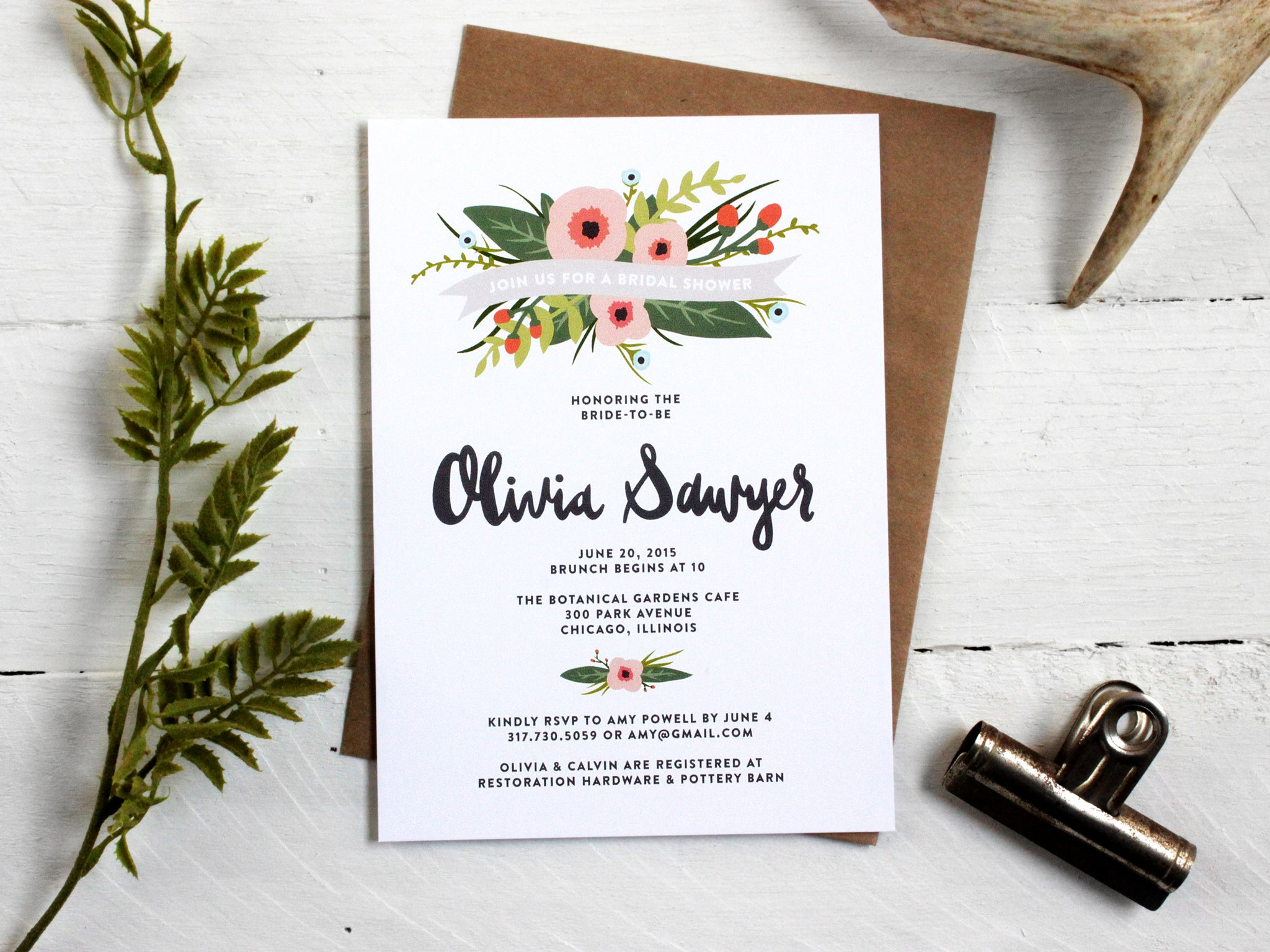 Whimsical Floral Bridal Shower Invitations The Oysters Pearl