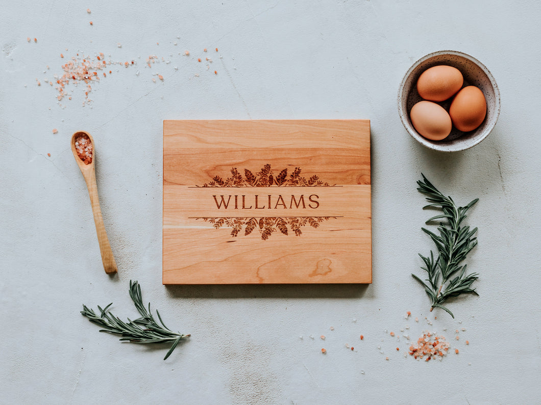Botanical Surname Custom Engraved Handmade Cutting Board