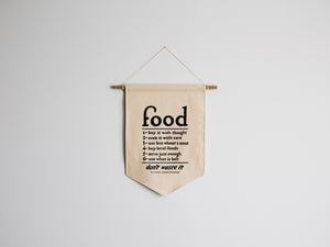 Vintage Food Rules Canvas Banner