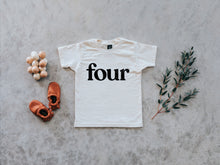 Load image into Gallery viewer, Four Modern Birthday Shirt Organic Kids Tee