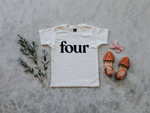 Four Modern Birthday Shirt Organic Kids Tee