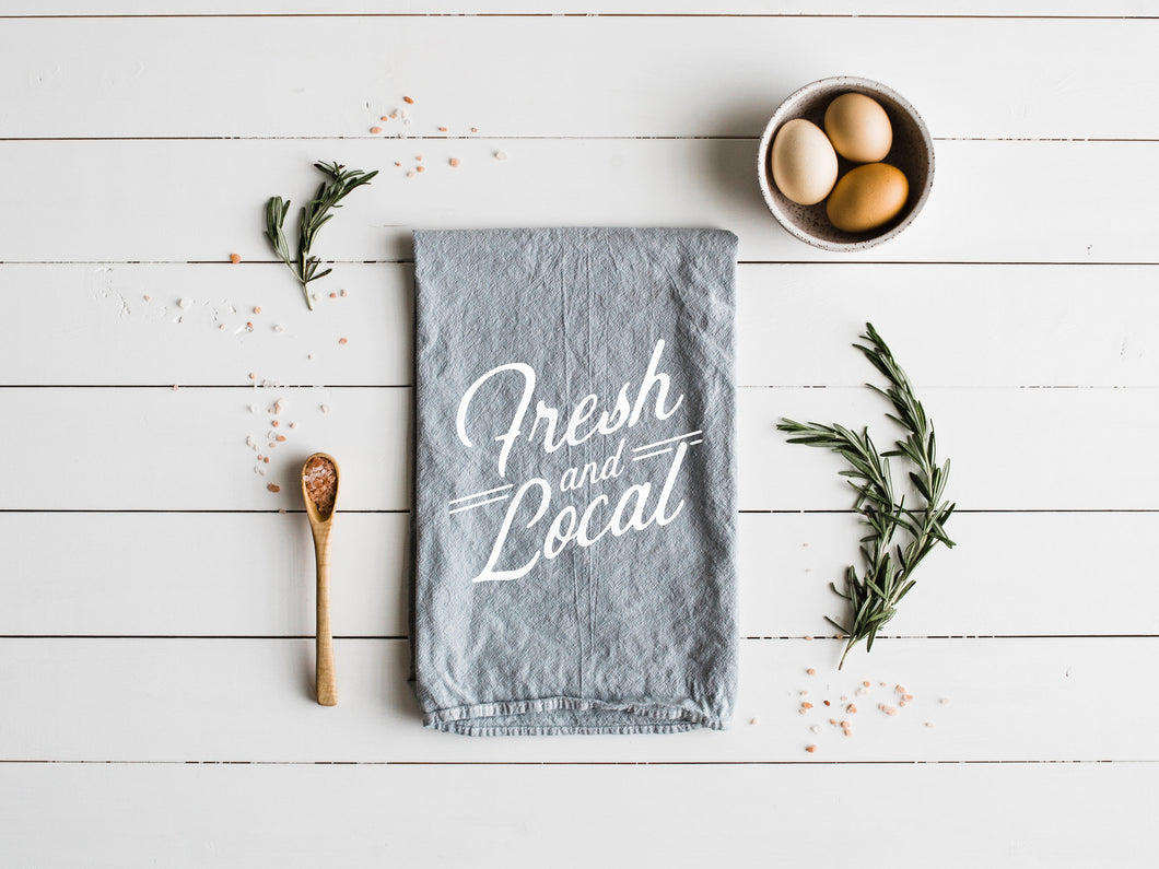 Fresh and Local Gray Tea Towel