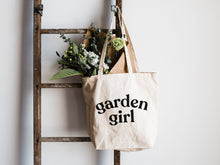 Load image into Gallery viewer, Garden Girl Canvas Tote Bag