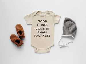 Good Things Come In Small Packages Organic Baby Bodysuit