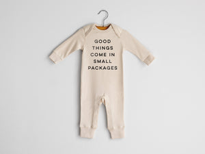 Good Things Come In Small Packages Full Body Organic Baby Romper