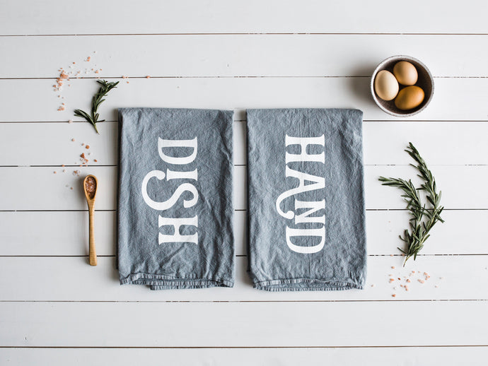 Hand and Dish Set of Two Tea Towels