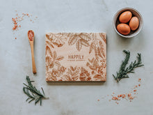 Load image into Gallery viewer, Floral Frame Happily Ever After Engraved Wooden Cutting Board