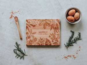 Floral Frame Happily Ever After Engraved Wooden Cutting Board