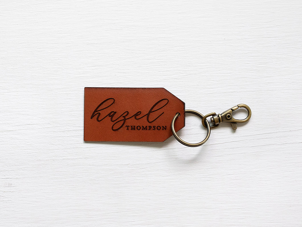 Custom Leather Tag Keychain • Modern Script Luggage Tag