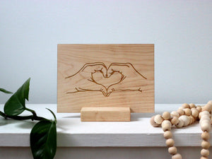 Wooden Valentine Card • Modern Heart Hands