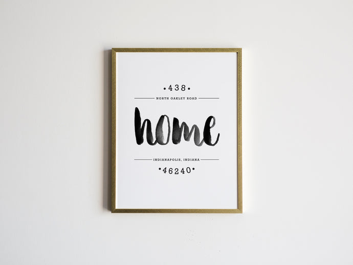 """Home"" Custom Watercolor Home Address Print"