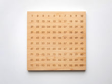 Load image into Gallery viewer, Wooden 100 Number Board • Engraved Numeral Chart in Modern Font