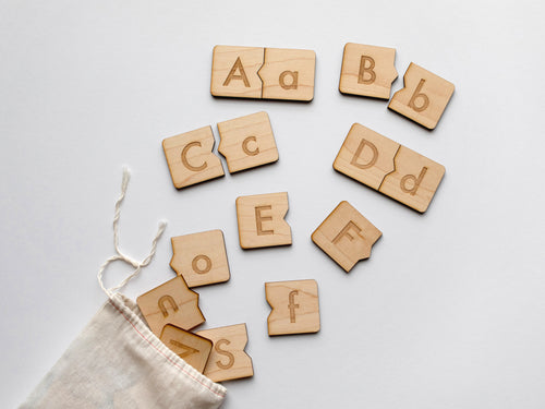 Wooden Alphabet Puzzle • Uppercase & Lowercase Matching Game