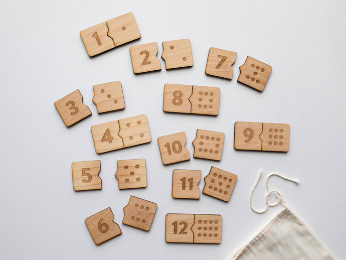 Wooden Number Match Puzzle • Handmade Wood Domino Style Matching Game