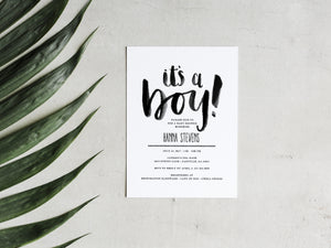 It's A Boy Brush Lettered Baby Shower Invitation Printable