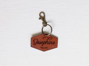 Custom Leather Tag Keychain • Modern Badge Tag
