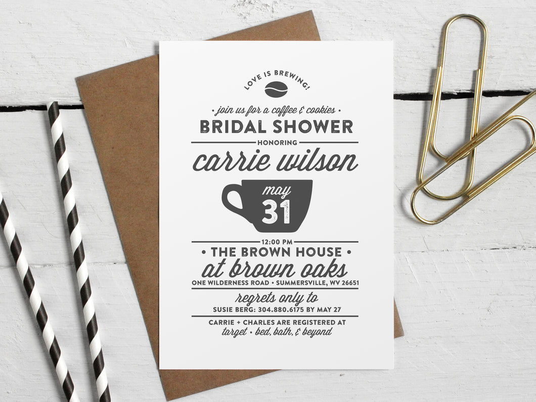 Printable Love Is Brewing Coffee Theme Bridal Shower Invitation