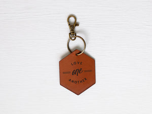 Love One Another Leather Keychain