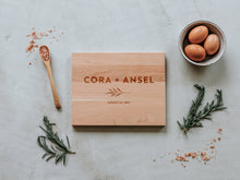 Load image into Gallery viewer, Modern Sans Serif Custom Names Engraved Handmade Cutting Board