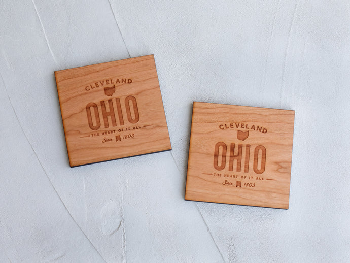 Custom City State Wooden Coasters • Handmade Set of 4