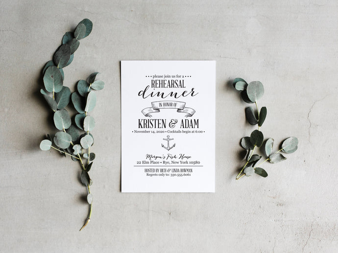 Nautical Rehearsal Dinner Invitations