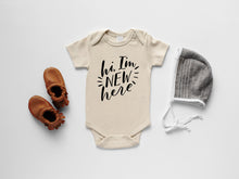 Load image into Gallery viewer, Hi I'm New Here Organic Baby Bodysuit