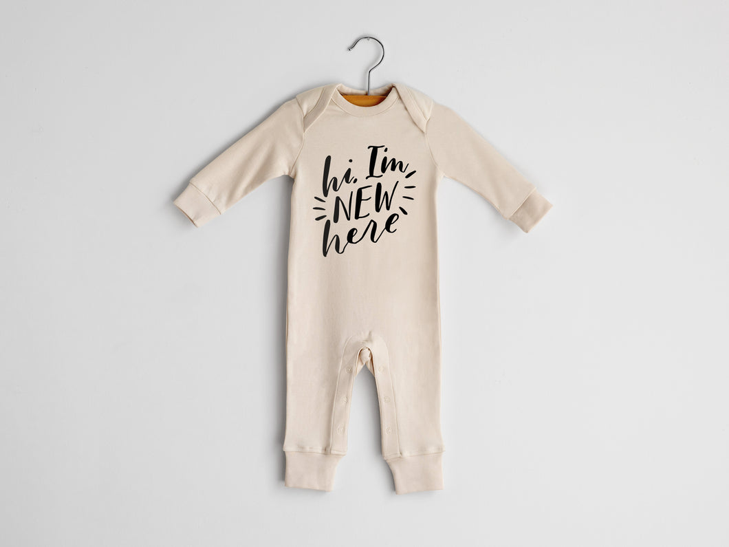 Hi I'm New Here Full Body Organic Baby Romper