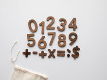 Load image into Gallery viewer, Wooden Number Set • Wood Numerals & Math Symbols in Walnut