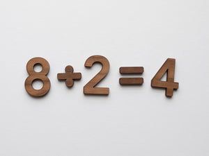 Wooden Number Set • Wood Numerals & Math Symbols in Walnut