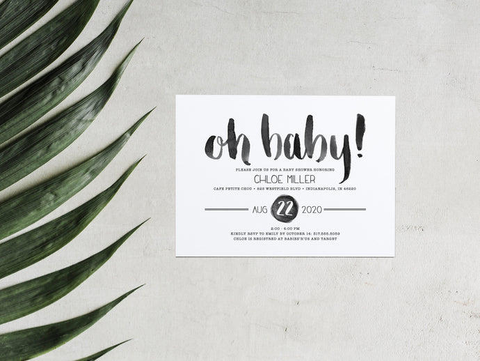 Oh Baby Brush Lettered Baby Shower Invitation