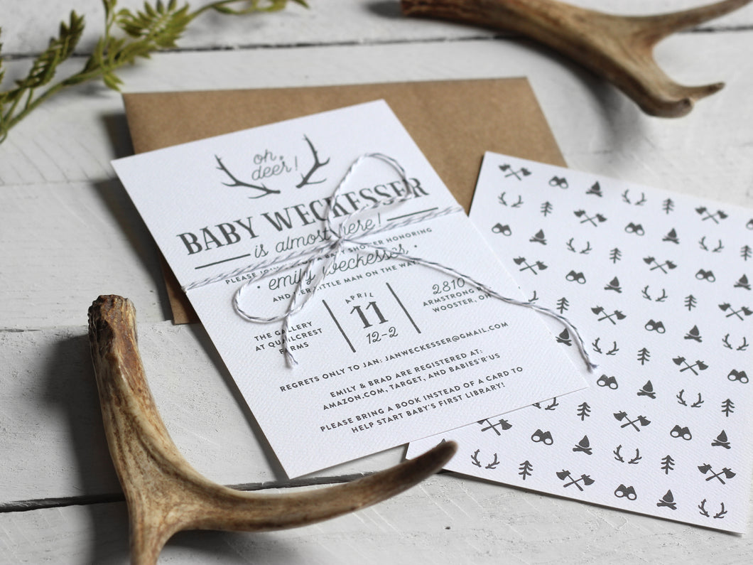 Printable Oh Deer Rustic Baby Shower Invitation