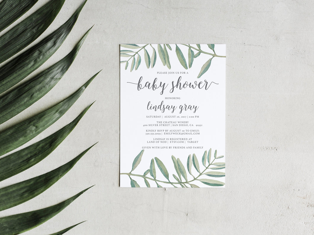 Olive Branch Baby Shower Invitation Printable