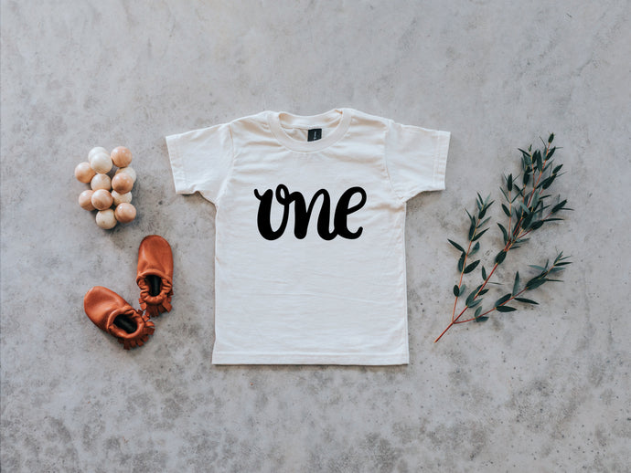 One First Birthday Organic Baby Tee