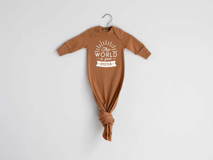 The World Is Your Oyster Organic Knotted Baby Gown