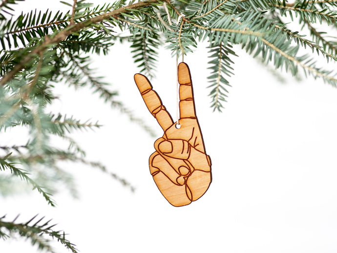 Modern Peace Sign Wooden Christmas Ornament