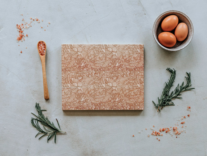 Peony Patterned Handmade Wooden Cutting Board
