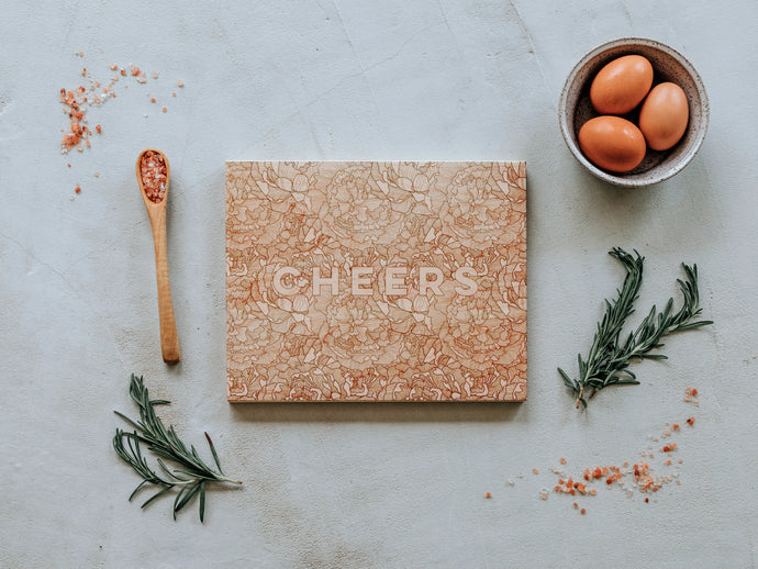 Cheers Floral Pattern Engraved Wooden Cutting Board