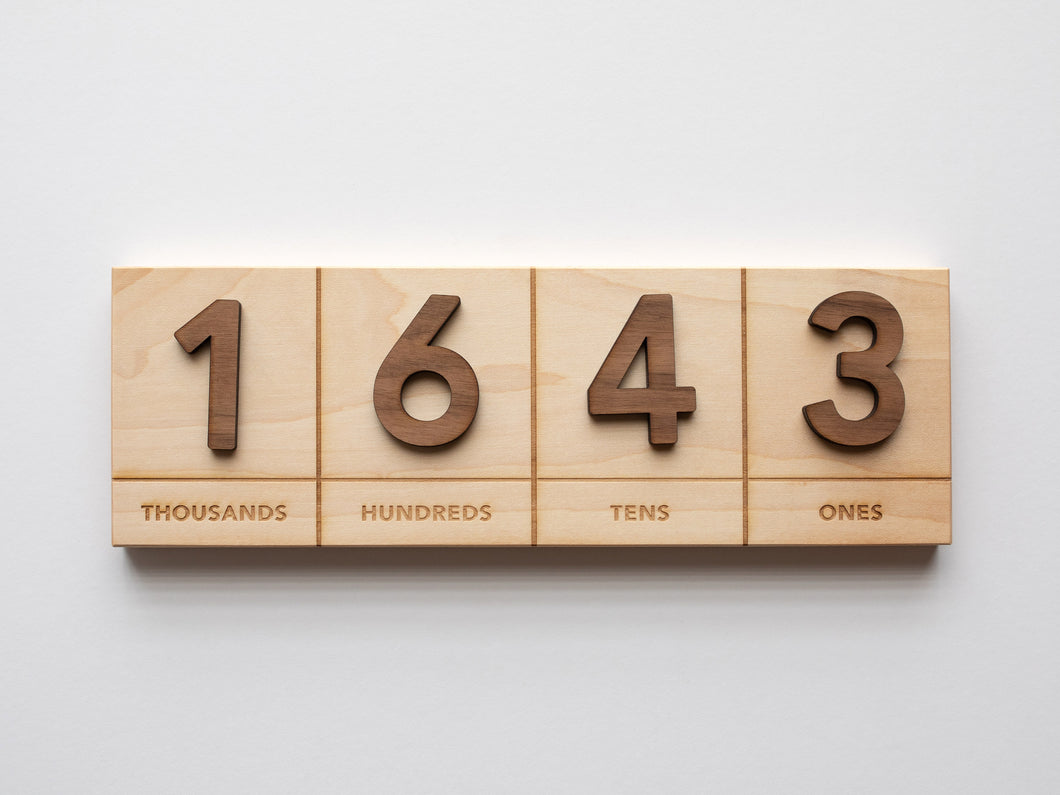Wooden Place Value Board from Ones to Thousands