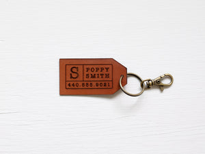 Custom Leather Tag Keychain • Modern Luggage Tag
