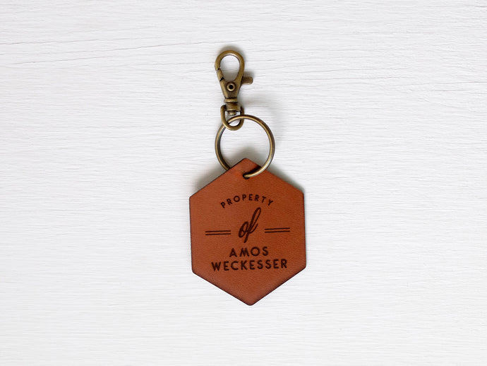 Custom Leather Tag Keychain • Modern Hexagon Tag