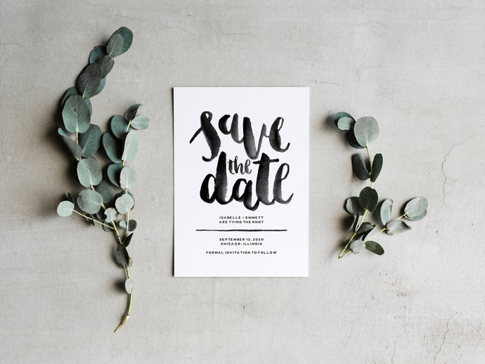 Modern Brush Lettered Save the Date
