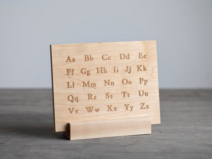 Wooden Alphabet Montessori Board and Tabletop Reference Chart • Classic Serif