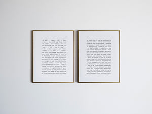 Set of 2 Custom Vows Print in Vintage Typewriter Style