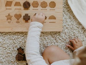 Wooden Shapes Montessori Board and Tabletop Geometry Reference Chart